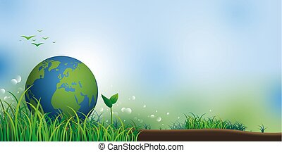 Earth on grass with copy space for environment day banner vector illustration