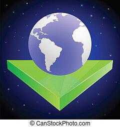 Earth on green arrow in space