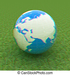Earth on green grass. 3D illustration. Anaglyph. View with red/cyan glasses to see in 3D.
