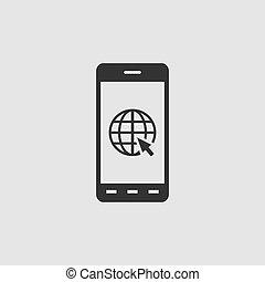 Earth on smartphone screen icon flat