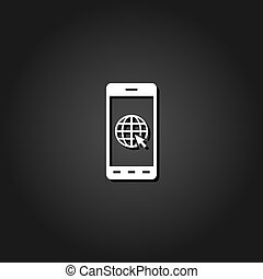 Earth on smartphone screen icon flat