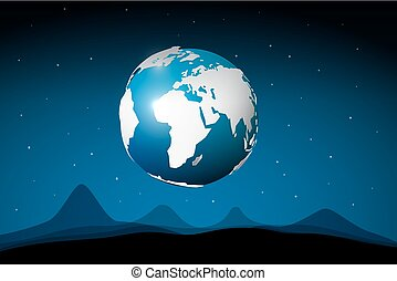 Earth on Space with Abstract Moon Surface. Cosmos Vector Background.