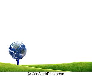 Earth on tee off golf