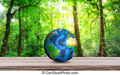 Earth on wood table (Elements of this image furnished by ...