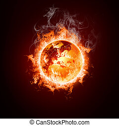 Earth open arms fire on a black background