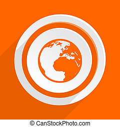 earth orange flat design modern icon for web and mobile app