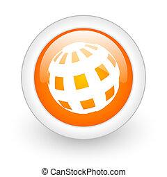 earth orange glossy web icon on white background