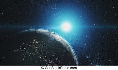Earth orbit reverse blue sun radiance outer space - Earth...