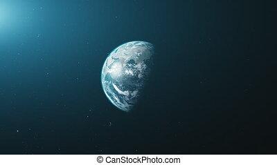 Earth orbit zoom reverse open space background - Earth Orbit...