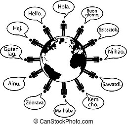 Earth People Translate Languages say Hello - Global people...
