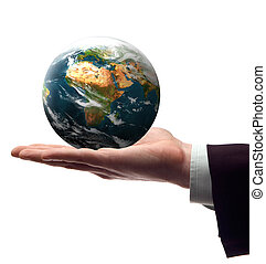 earth - business men holding earth in his hend on white...