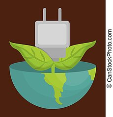 earth planet and electric plug