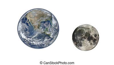 Earth planet and Moon isolated on white. Elements of this image furnished by NASA