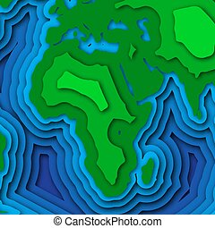 Earth planet background in 3d paper cut design.
