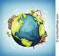 Earth Planet Background With House and Nature - Illustration...