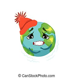 Earth planet character in red hat trembling, cute globe with face and hands vector Illustration