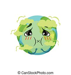 Earth planet character suffocating from carbon dioxide,...