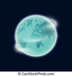 Earth planet globe vector illustration isolated on dark blue background