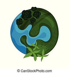 Earth planet globe with green island vector Illustration on a white background