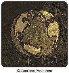 Earth planet grunge illustration. Vector, EPS10