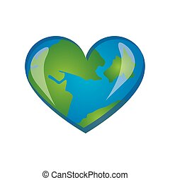 earth planet heart icon