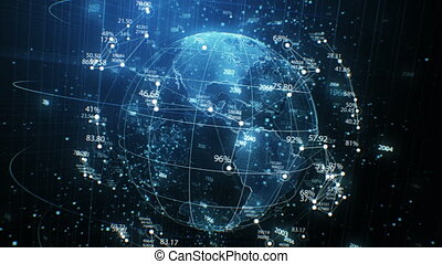 Earth Planet Hologram and Network Grid with Numbers Seamless Rotation in Cyberspace Elements. Looped 3d Animation. Futuristic Business and Technology Concept 4k Ultra HD 3840x2160