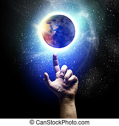 Earth planet - Human hand and earth planet. Ecology concept....