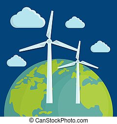 earth planet icon - earth planet and eolic turbines over...