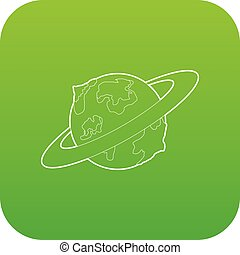 Earth planet icon green vector