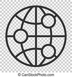Earth planet icon in flat style. Globe geographic vector illustration on isolated background. Global communication business concept.