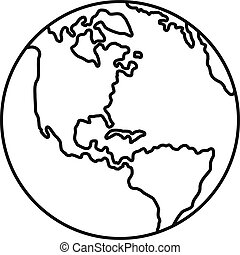 Earth planet icon, outline style
