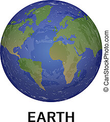 Earth planet icon, realistic style