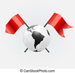 Earth Planet Icon with Red Flag Vector Illustration