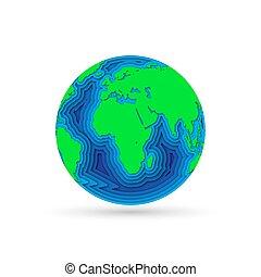 Earth planet in 3d paper cut design. Vector illustration.