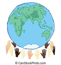 earth planet in hands eastern hemisphere, save the planet concept art, waste and recycle problem, editable vector illustration