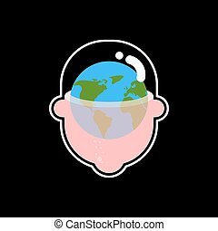 Earth planet in head. Globe in Transparent head. Vector illustration