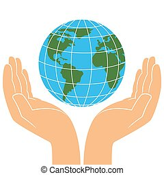 Earth planet in human hands