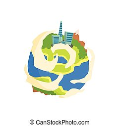 Earth planet of the Solar System cartoon vector Illustration