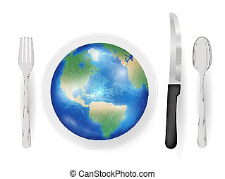 earth planet on a dish with knife fork and spoon eat world concept