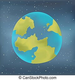Earth planet on a starry sky background.
