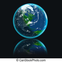 Earth planet on black background with reflection