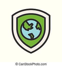 earth planet on shield icon, filled outline flat design
