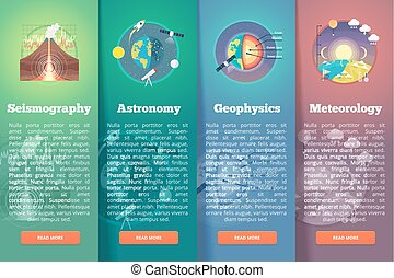 Earth planet science banner set. Seismography. Astronomy....