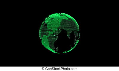 Earth. Planet seamles looping. Rotating globe, shining continents with accented edges. Abstract cyber animation with depth of field and glow