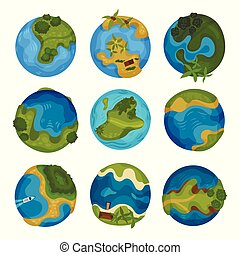 Earth planet set, globe with ocean and green simmer islands...