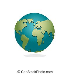 Earth Planet. Sign Of Globe. Space Earth On White Background. World Globe  Map