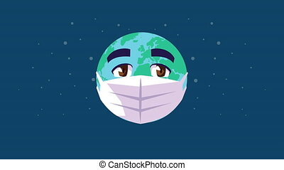 earth planet using face mask comic character ,4k video animated