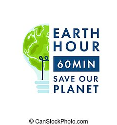 Vector illustration of the planet in light bulb on a white background. Earth Hour.