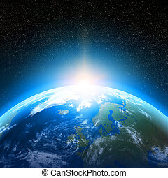 Earth planet viewed from space - Creative abstract global...