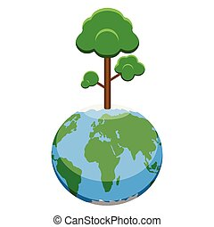 Earth planet with a tree